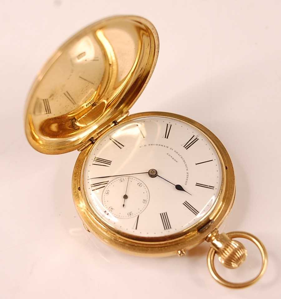 A late Victorian 18ct gold cased gent's full hunter pocket watch, having plain case, signed white
