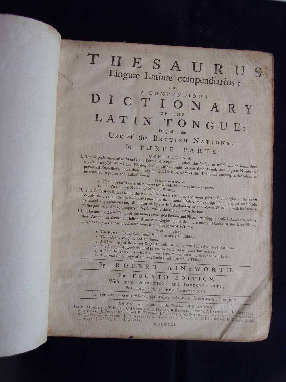 AINSWORTH, Robert. Thesaurus Linguae Latinae compendiarius, OR, A Compendius Dictionary of the Latin - Image 3 of 3