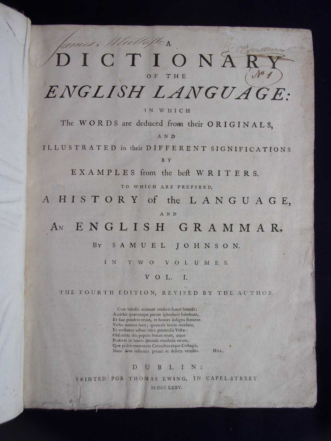 JOHNSON, Samuel. A Dictionary of the English Language. Thomas Ewing, Dublin, 1775. 4th Edition. In - Image 3 of 3
