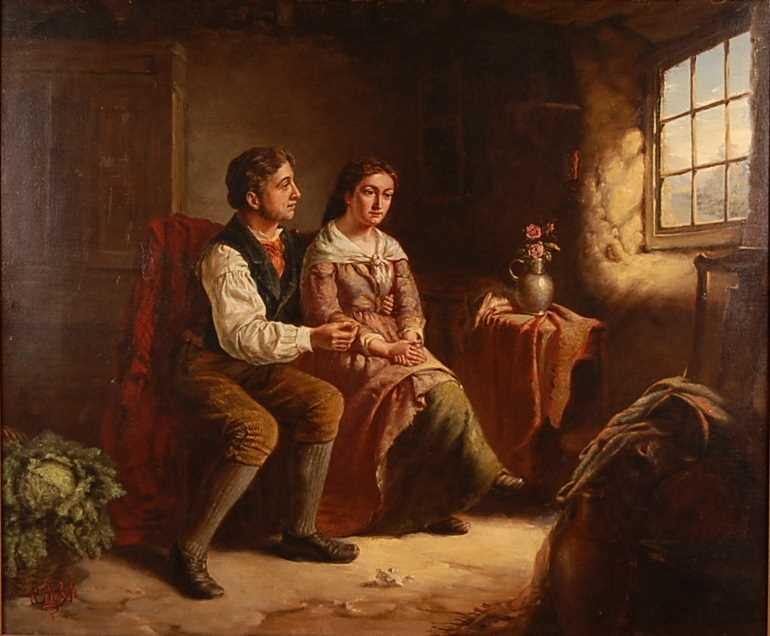 Erskine Nichol (1824-1904) - The Proposal, oil on canvas, signed with monogram and dated '88 lower