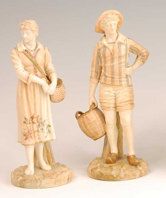 A pair of Royal Worcester blush ground figures modelled as the French Fisherman and his Companion,