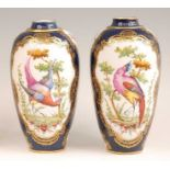 A pair of Paris porcelain vases after the Worcester Dr Wall examples, each enamel decorated with