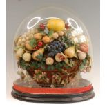 A Victorian glass dome on ebonised plinth, gross h.46cm, dome depth 28cm, dome width 38.5cm,