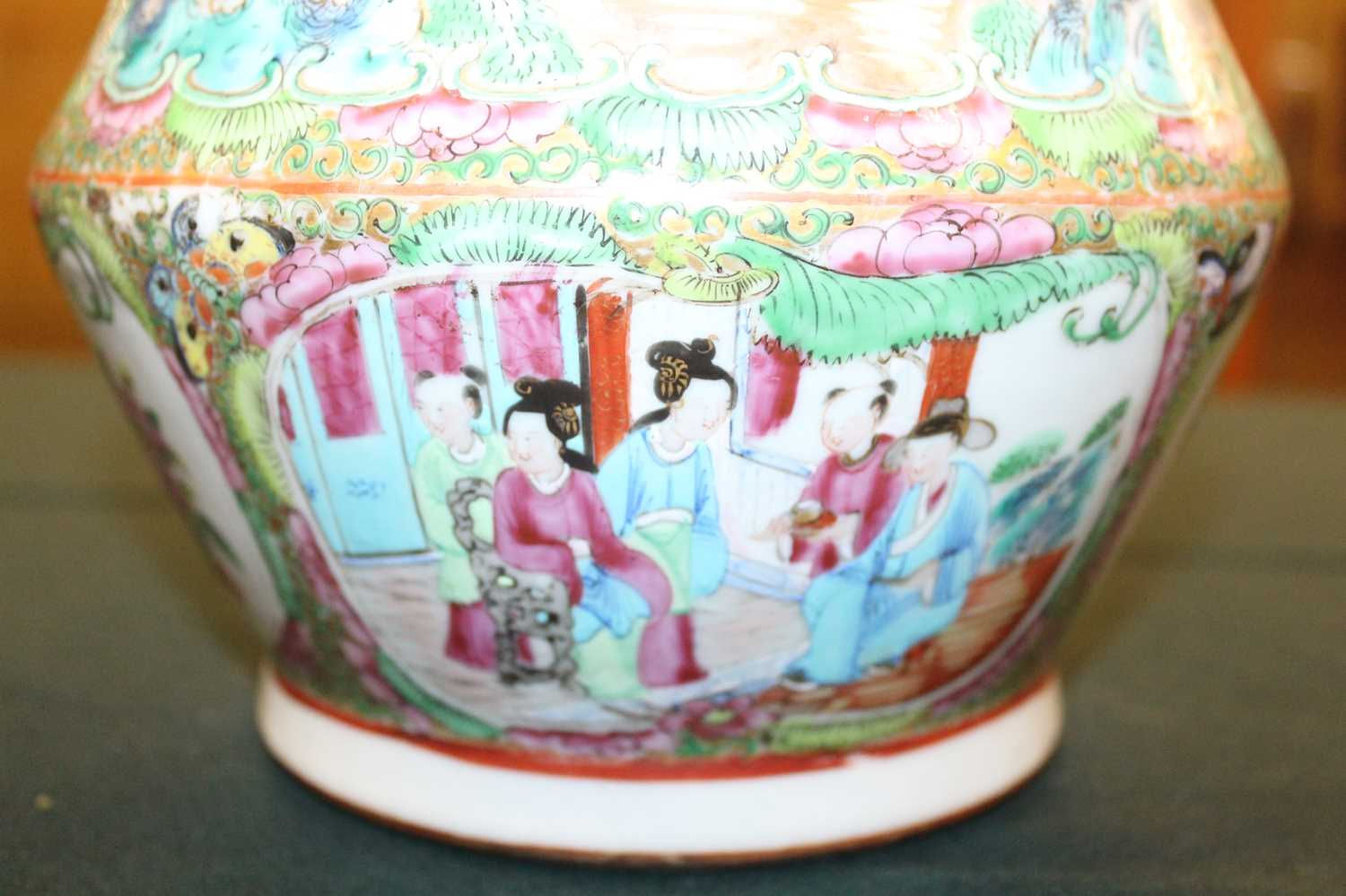 A 19th century Chinese Canton famille rose vase, enamel decorated with ceremonial figure scenes - Image 12 of 18