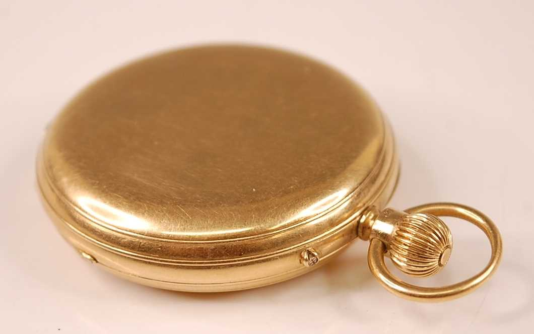A late Victorian 18ct gold cased gent's full hunter pocket watch, having plain case, signed white - Image 3 of 5