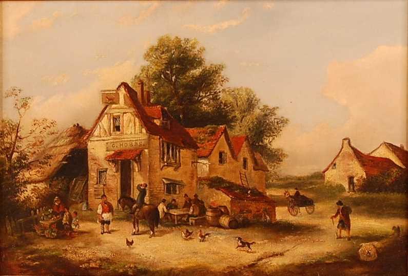 George (Georgina/Edwina) Lara (act.1860s) - Figures outside a tavern, oil on canvas, unsigned, 22