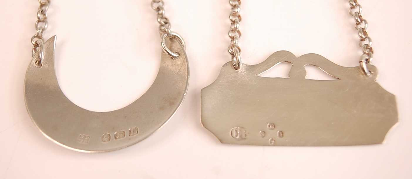 A George III silver decanter collar, of crescent shape, annotated for Sherry, maker Peter & - Image 2 of 2