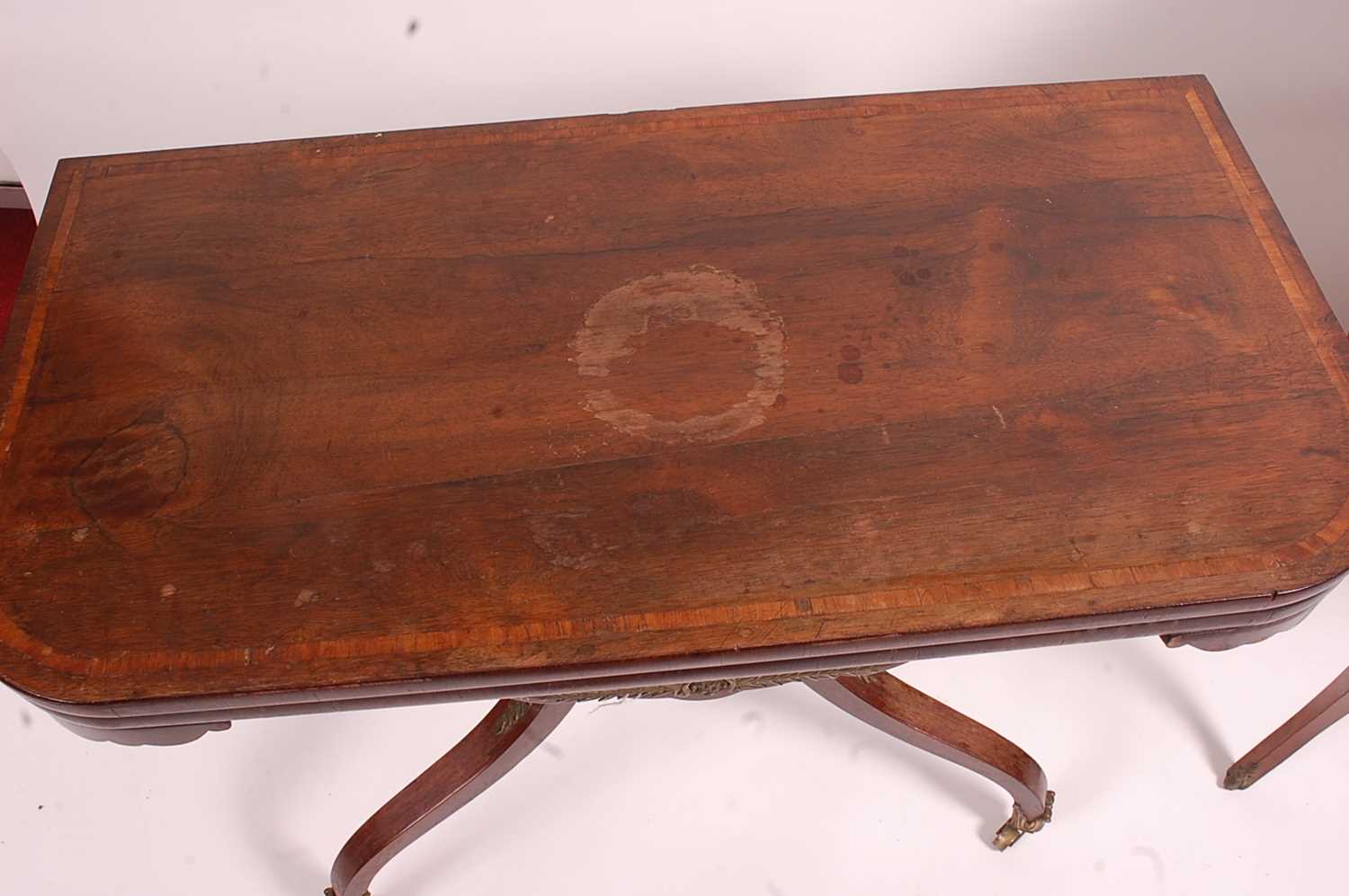 A Regency rosewood pedestal tea table, the fold-over and satinwood crossbanded top on unusual - Image 3 of 7