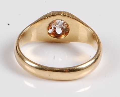 A yellow metal diamond single stone ring, featuring an Old European cut diamond in a scalloped - Image 3 of 5