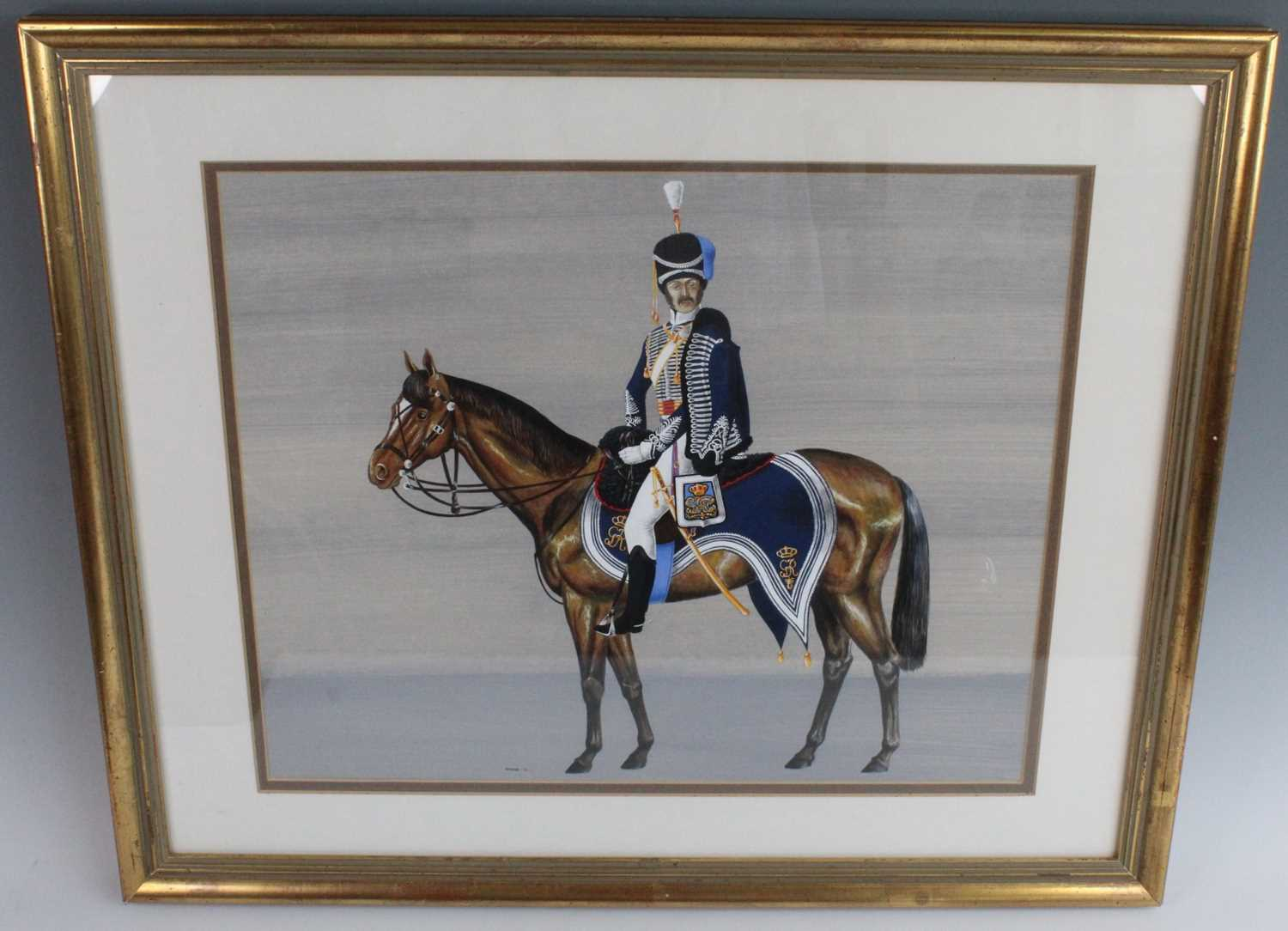 Spear, (20th century), British Officer of the Napoleonic Wars mounted on horseback, gouache,