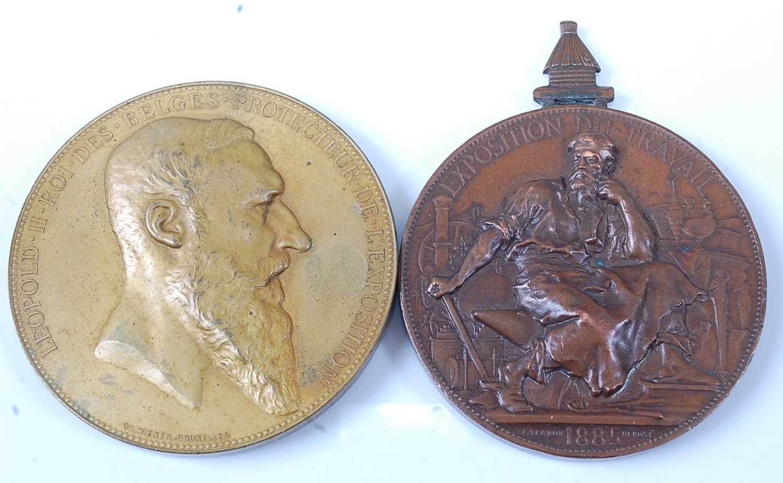 Belgium, Anvers 1885 Universal Exposition medal by Charles Wiener (1832-1887) obv; Leopold II,