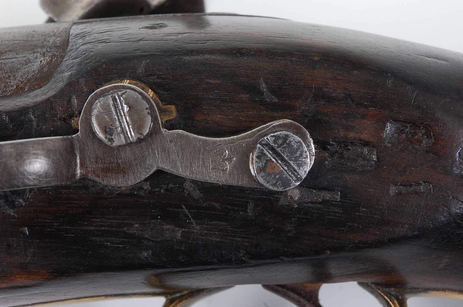 A 19th century Sea Service percussion belt pistol, the 15cm barrel with various inspection stamps - Image 5 of 5