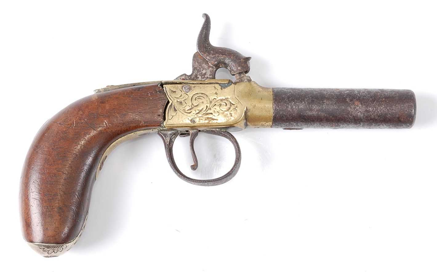 A 19th century percussion box-lock pocket pistol, having a 6cm turn-off steel barrel with engraved