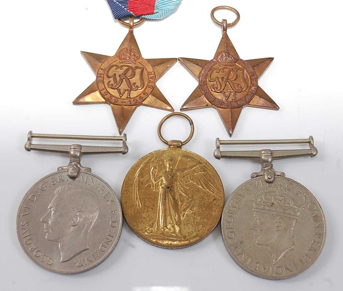 A WW I Victory medal, naming 1697 CPL. E.J. HARPER. 20-LOND. R., together with WW II 1939-1945 Star,
