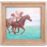 Attributed to Brian Whiteside (b. 1934), Coming to the Front, oil on board, in gilt frame with title