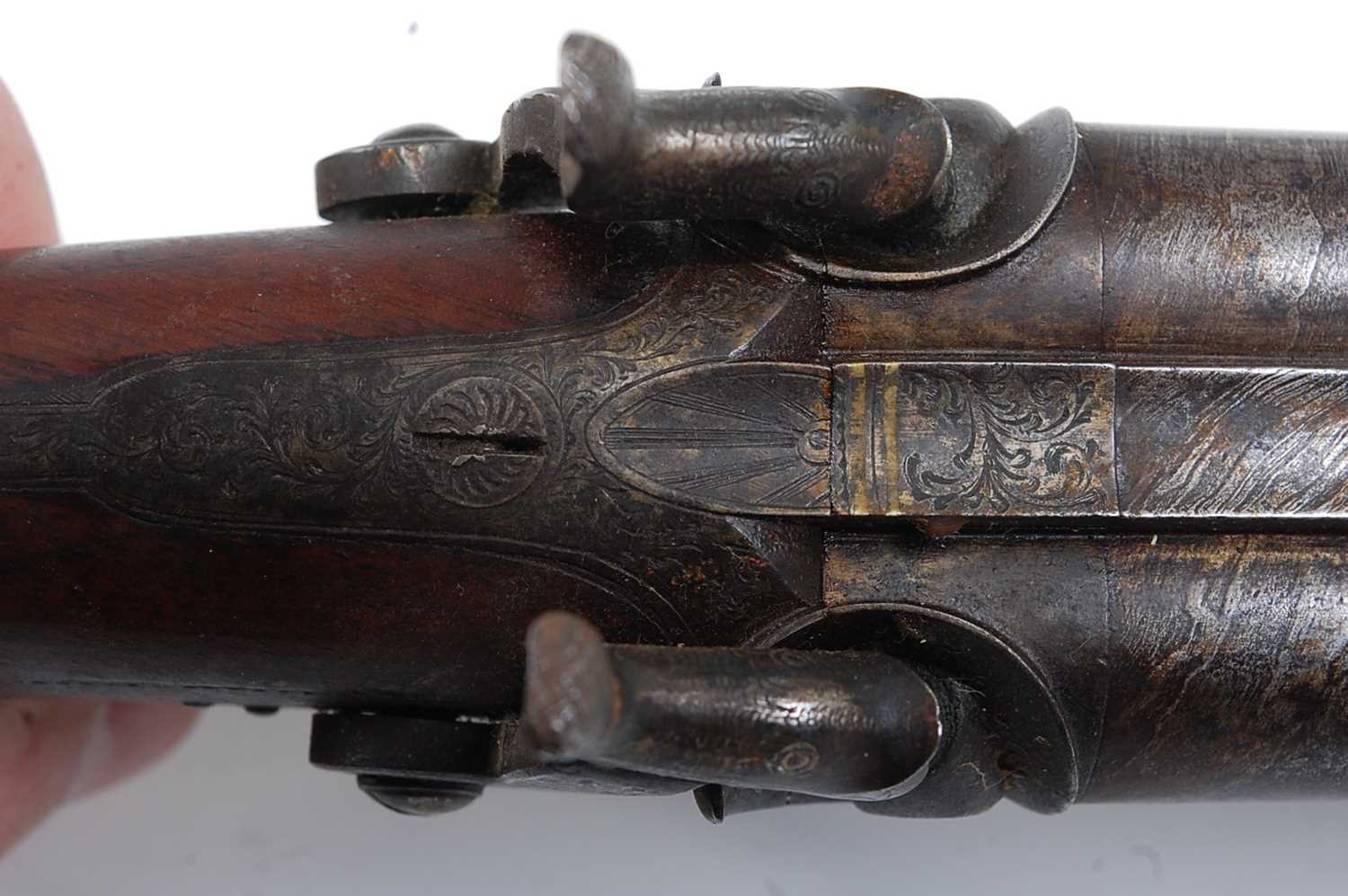 An early 19th century side by side double barrel percussion pistol by Durs Egg, the 15cm Damascus - Image 6 of 12