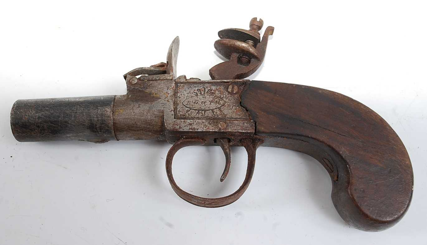A 19th century flintlock box-lock pocket pistol, having a 4cm turn-off steel barrel, the lock signed - Image 3 of 4