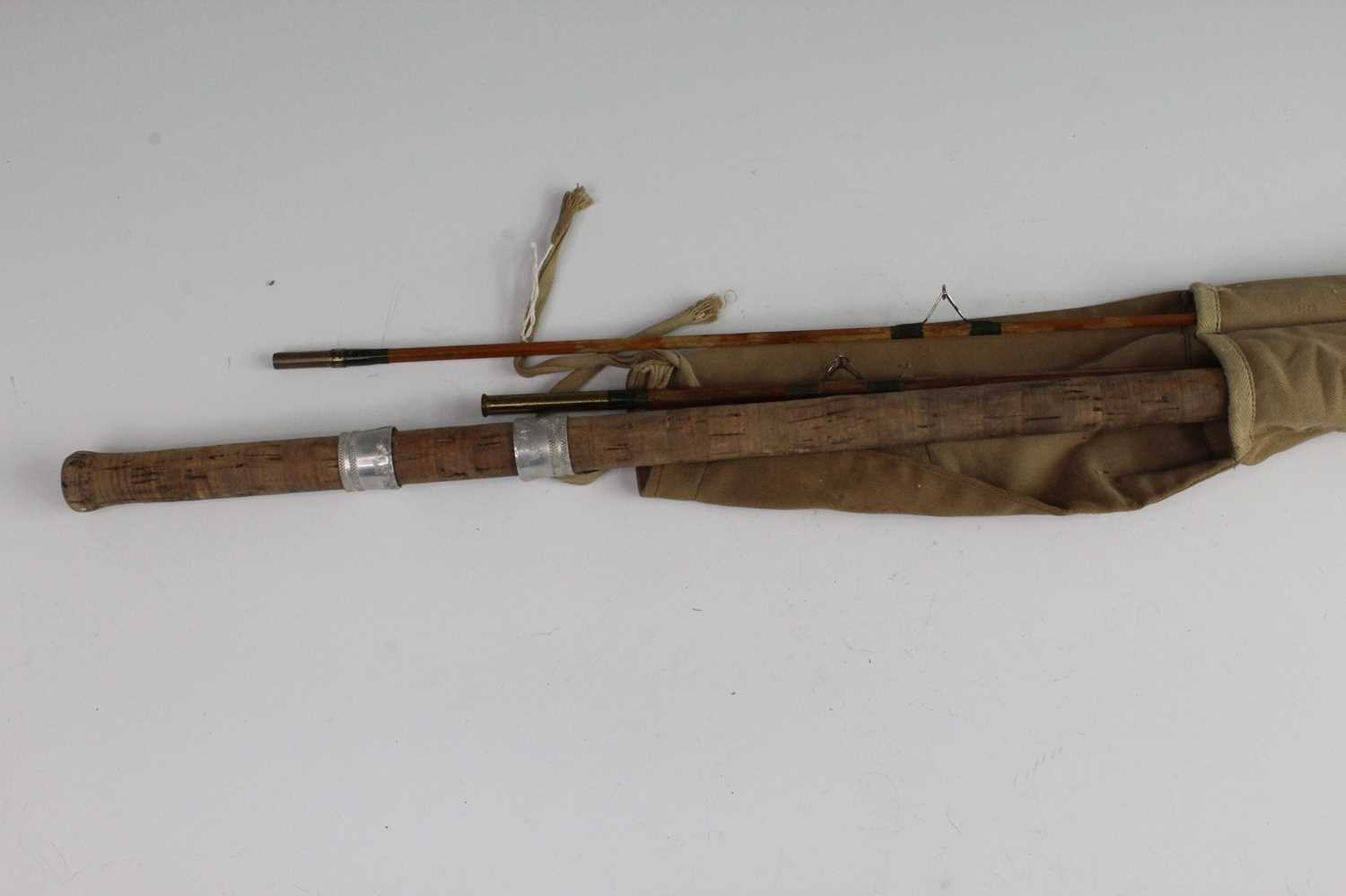 """A vintage """"The Orwell"""" 11' split cane three piece rod, in associated canvas bag."""