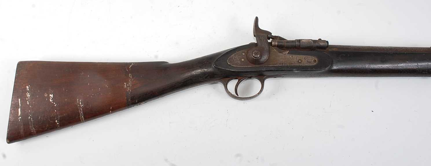 A Victorian .577 Snider breech loading two band rifle, having a 75cm barrel (lacking sight) with