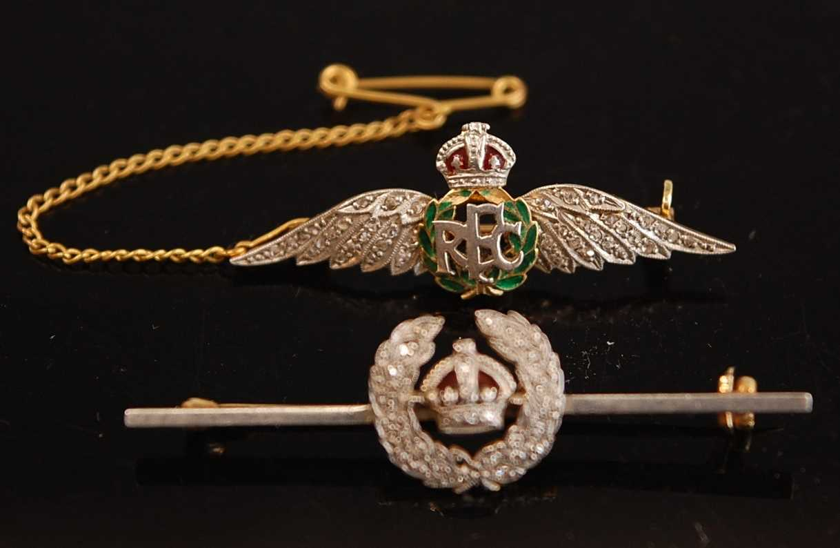 A yellow metal, enamelled and diamond set R.F.C. sweetheart brooch, with safety chain, 4cm, together - Image 4 of 5