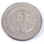 Chicago World's Fair 1893, Columbian Souvenir Medal, obv; Columbus within legend, rev; U.S. Man of