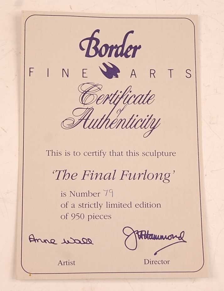 A Border Fine Arts figure group, The Final Furlong, model no. L.109 designed by Anne Wall, limited - Image 4 of 4