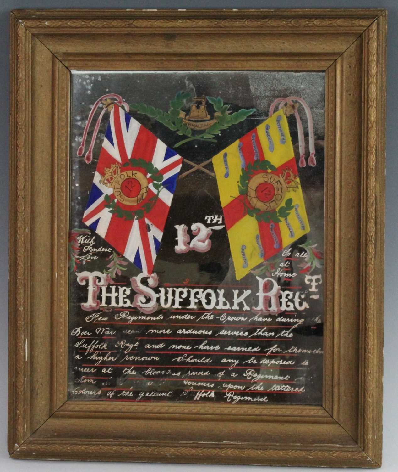 An early 20th century mirror, the rectangular plate painted with flags of the 12th Suffolk
