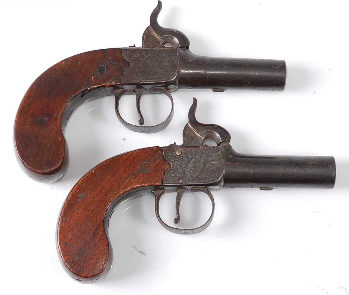 A pair of 19th century percussion box-lock pocket pistols by Durs Egg, each having a 4.5cm turn-