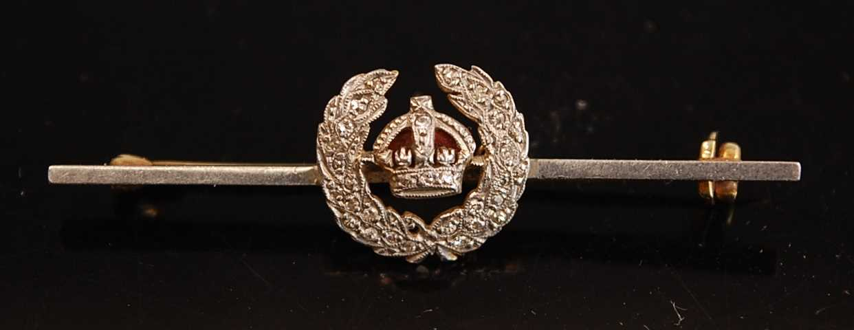 A yellow metal, enamelled and diamond set R.F.C. sweetheart brooch, with safety chain, 4cm, together - Image 3 of 5