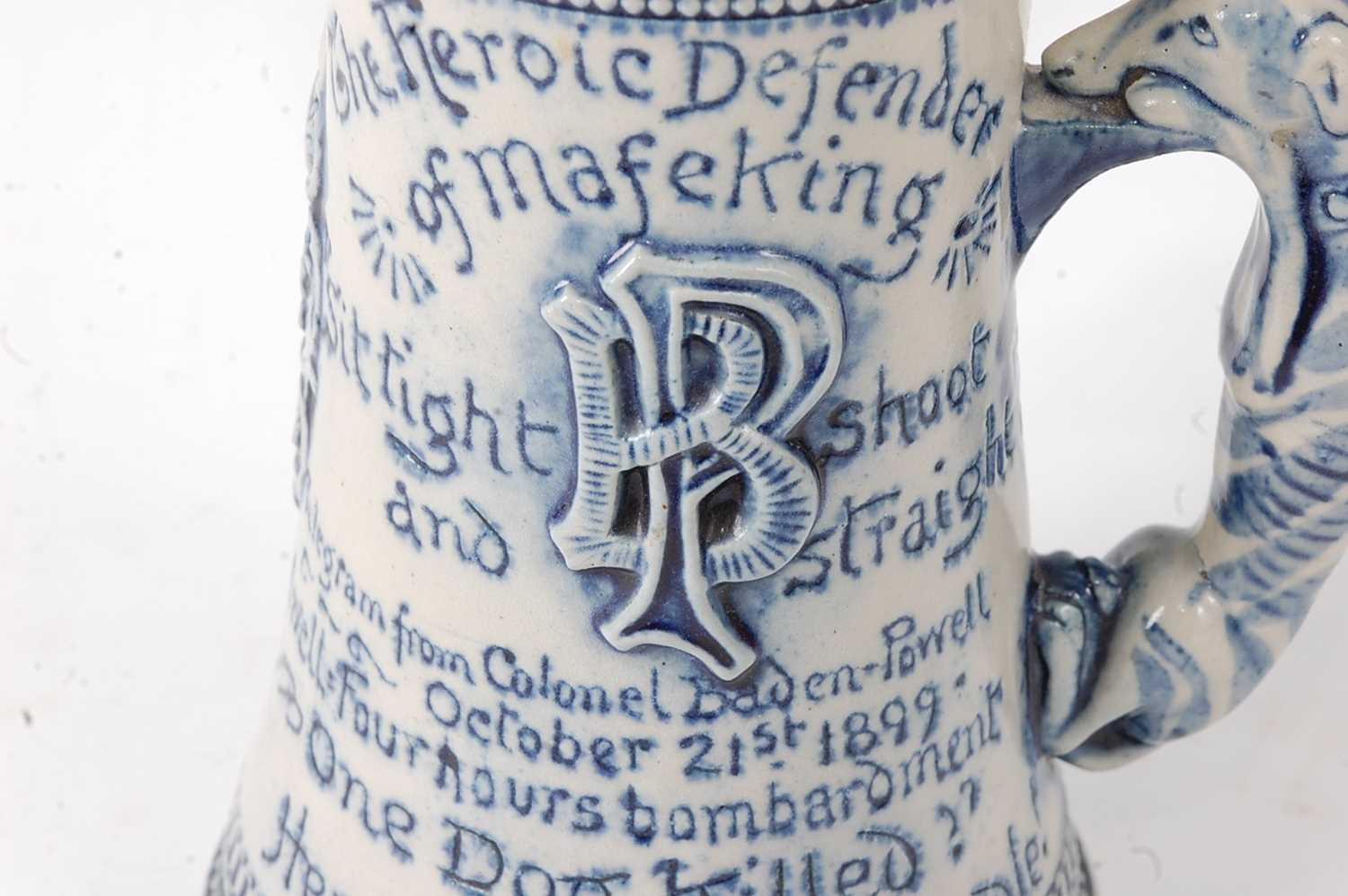A late Victorian stoneware siege of Mafeking commemorative mug by Horace Elliott, the body of - Image 4 of 7