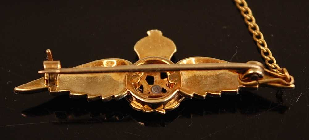 A yellow metal, enamelled and diamond set R.F.C. sweetheart brooch, with safety chain, 4cm, together - Image 2 of 5