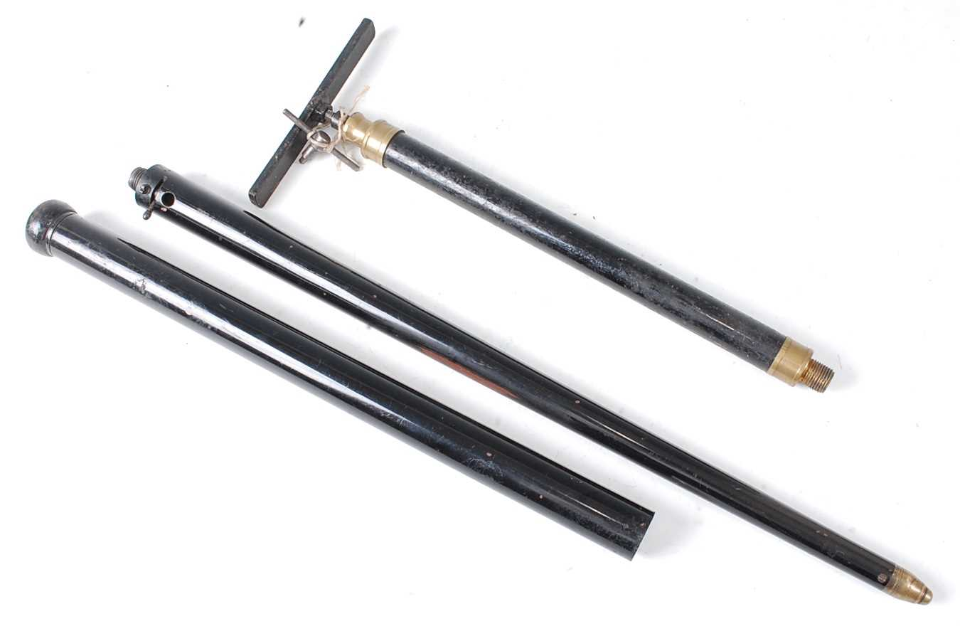 A Victorian air cane, in two sections with turned ebonised wooden handle and brass tip, no visible - Image 4 of 6