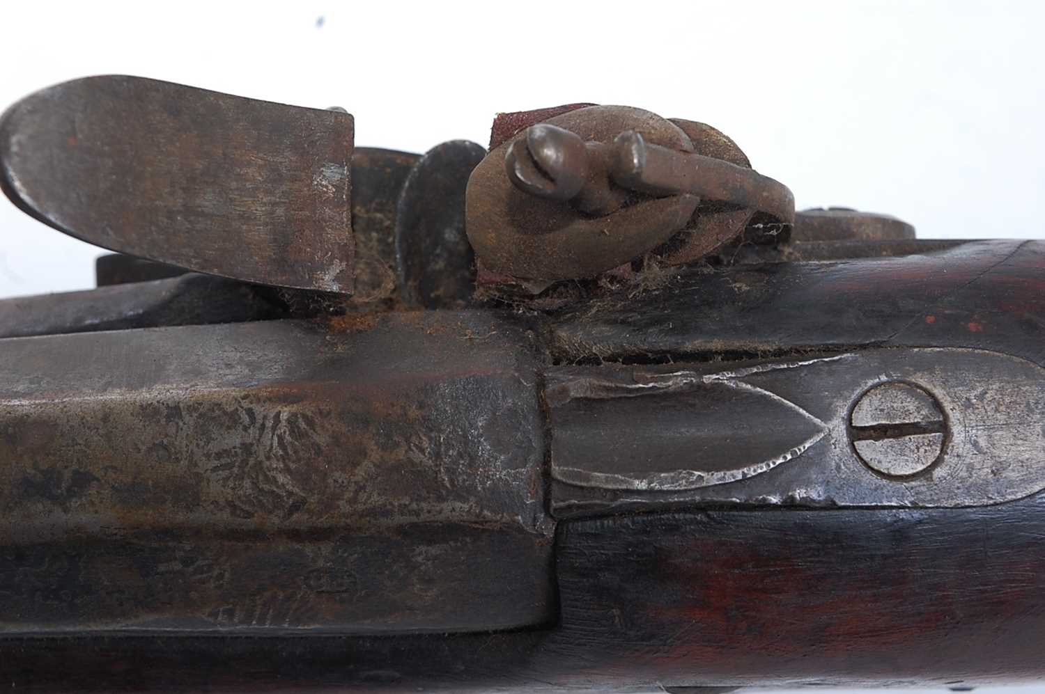 A large early 19th century flintlock rifle, the 133cm barrel marked Dublin and numbered F2905, the - Image 8 of 9