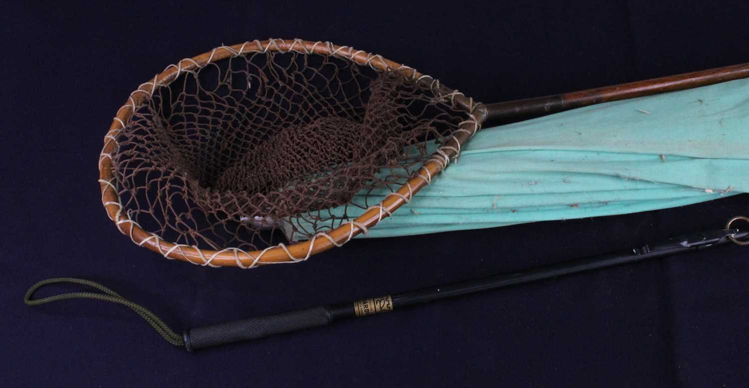 A collection of fishing equipment to include a wicker creel, a pair of Schnee's Sportsman brown - Image 2 of 2