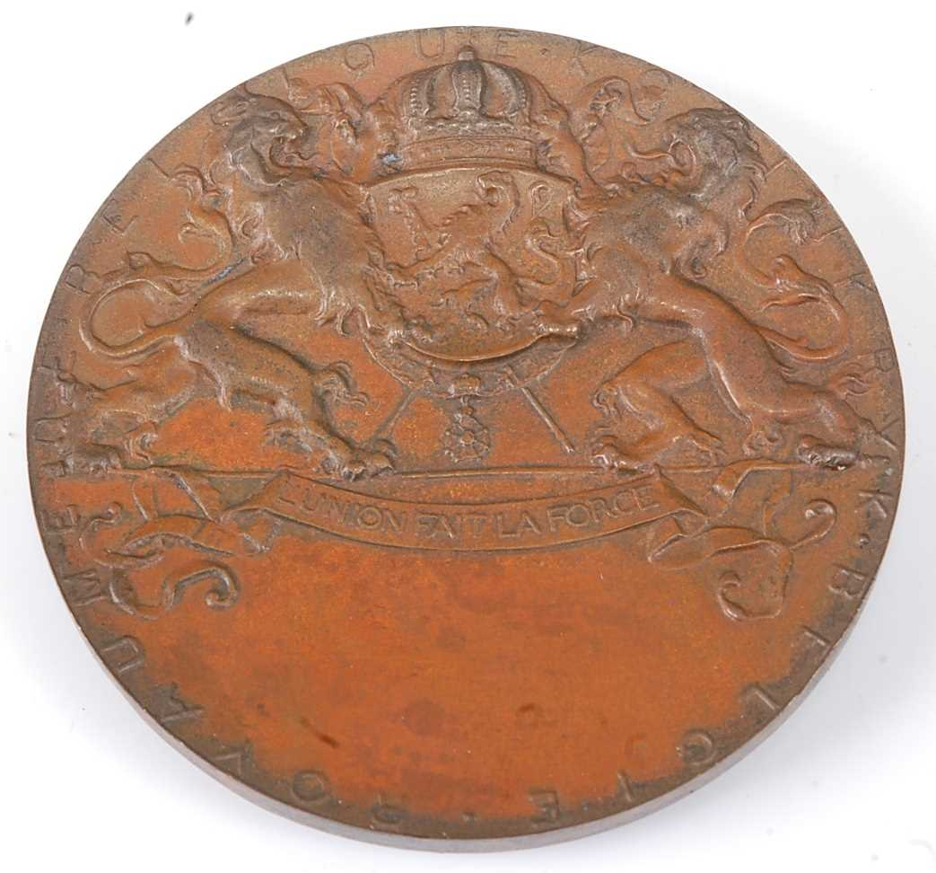 Belgium, Brussels International Exposition 1897, bronze medal, designed by Wolfers, engraved by - Image 2 of 6