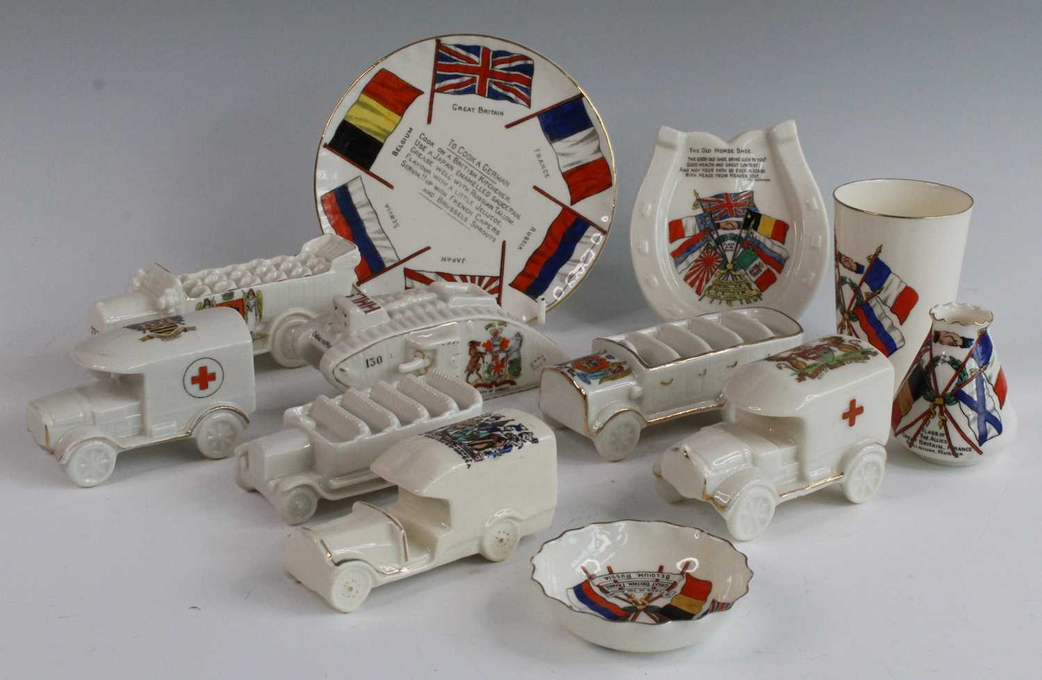 A collection of WW I / Military related crested cabinet china to include a W.H. Goss beaker - Image 2 of 12