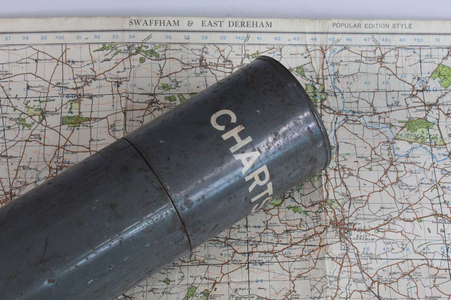 A grey painted tin chart tube containing a 1940 War revision map of Swaffham and East Dereham,