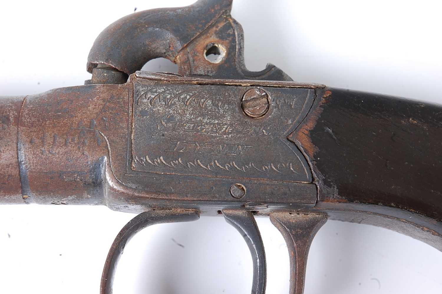 A 19th century box-lock percussion pocket pistol, having a 4.5cm turn-off steel barrel, the frame - Image 3 of 3