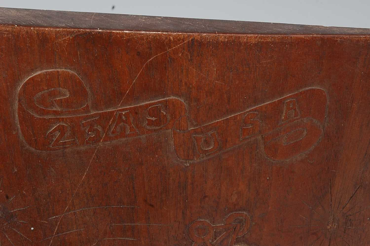 A WW I mahogany D.H. 9 propeller tip, one side carved with a de Havilland, further carved 23AS USA - Image 3 of 8
