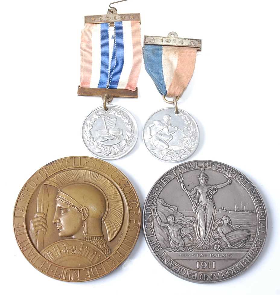 Belgium, Brussels Exposition Universelle 1910 medal, by Godefroid Devreese (1861-1941), obv;