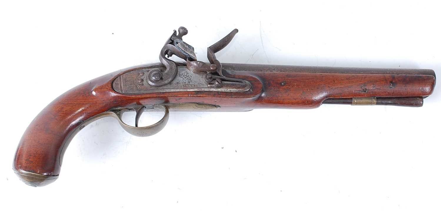 An early 19th century East India Company flintlock pistol, the 22cm barrel marked London, the