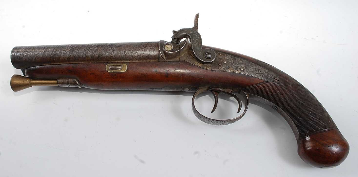 An early 19th century side by side double barrel percussion pistol by Durs Egg, the 15cm Damascus - Image 3 of 12
