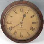 A WW II beech cased military wall clock, the circular enamel dial with Roman numerals with War
