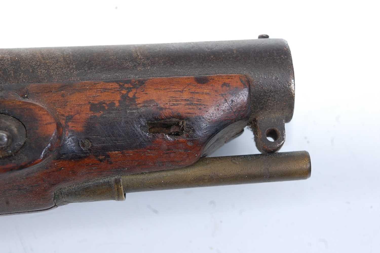 An early 19th century flintlock Revenue Customs Service Issue pistol, the 11cm circular barrel - Image 5 of 9