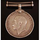 A WW I British War medal, naming R.M.A. 14439 GR. E. HALLAM, together with a framed group of four WW