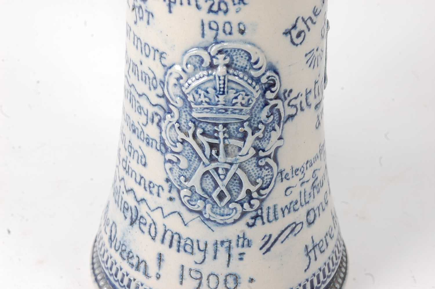 A late Victorian stoneware siege of Mafeking commemorative mug by Horace Elliott, the body of - Image 3 of 7