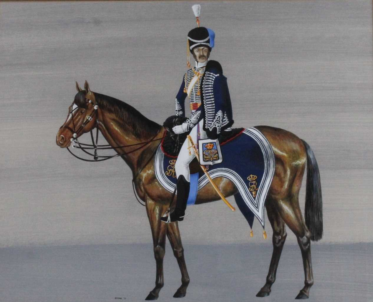 Spear, (20th century), British Officer of the Napoleonic Wars mounted on horseback, gouache, - Image 2 of 4