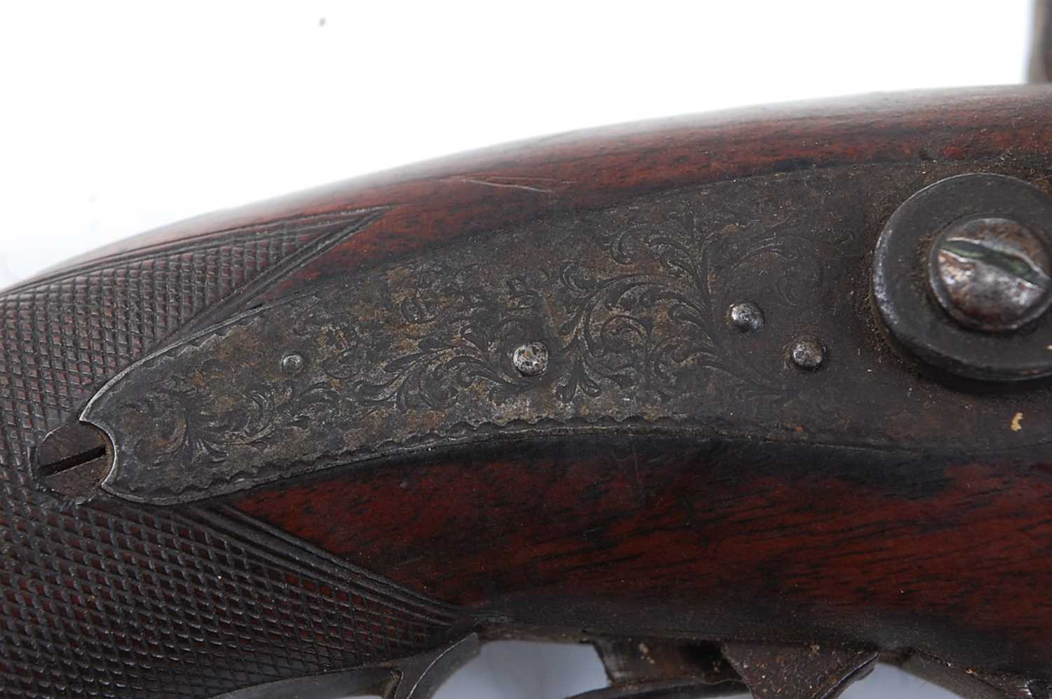 An early 19th century side by side double barrel percussion pistol by Durs Egg, the 15cm Damascus - Image 8 of 12