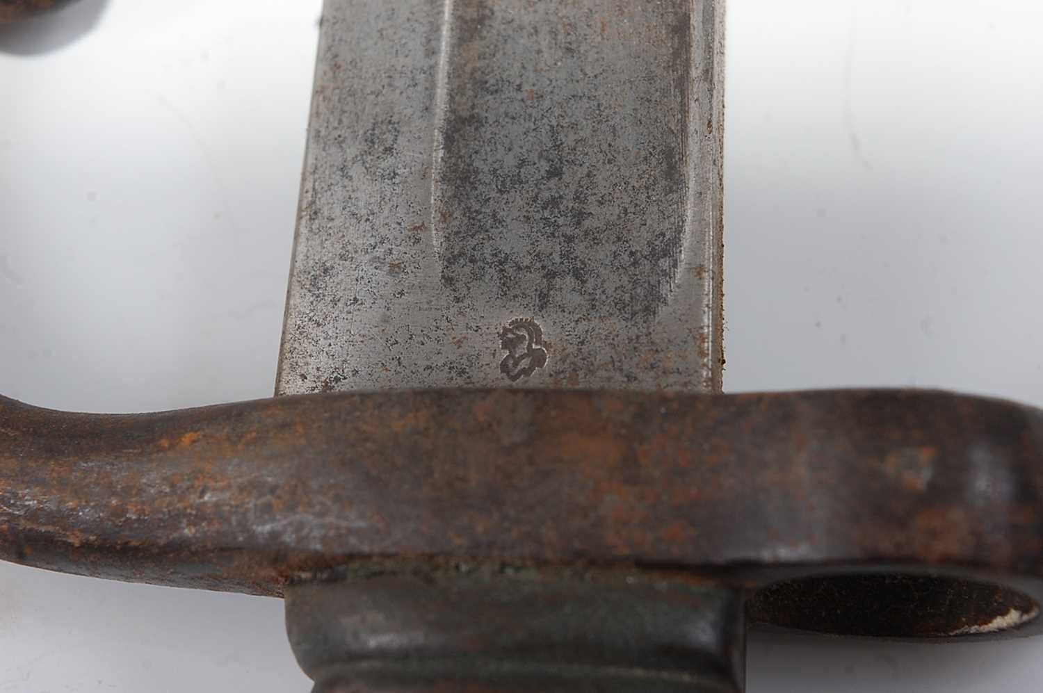 A French M1866 chassepot bayonet, the 57cm singled edged fullered Yataghan shaped blade marked to - Image 3 of 4