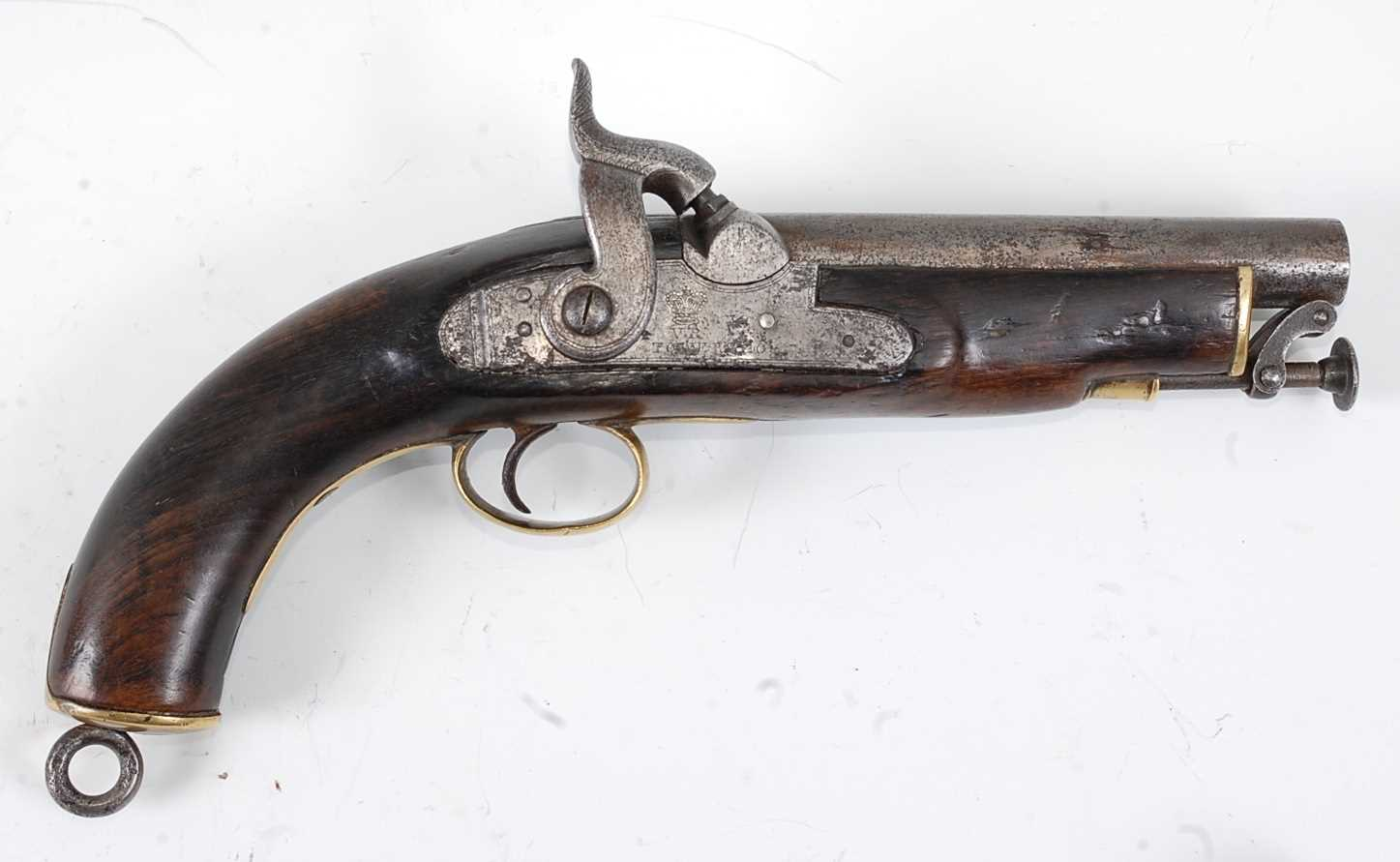 A 19th century Sea Service percussion belt pistol, the 15cm barrel with various inspection stamps